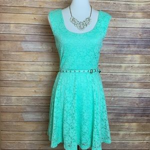 [Candie's] Mint Green Belted Dress